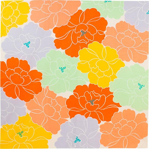 100cm Adeline Klam Organic Cotton Furoshiki | Peony Orange