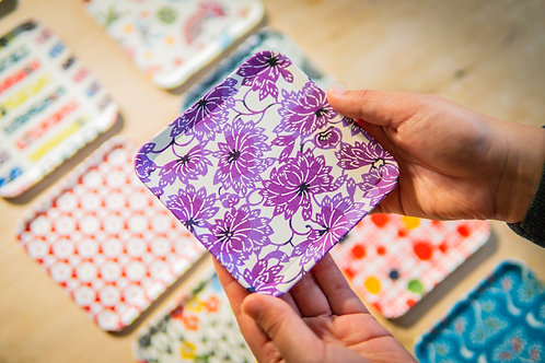 Kyoto Washi Paper Tray - Purple Flower