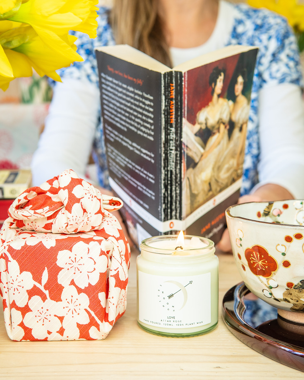 Jane Austen classic book daffodils flowers furoshiki scented candle wrapping cloth Kyoto tradition Japan
