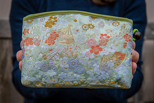 Kyoto Pouch - Green Gold Orange Lilac
