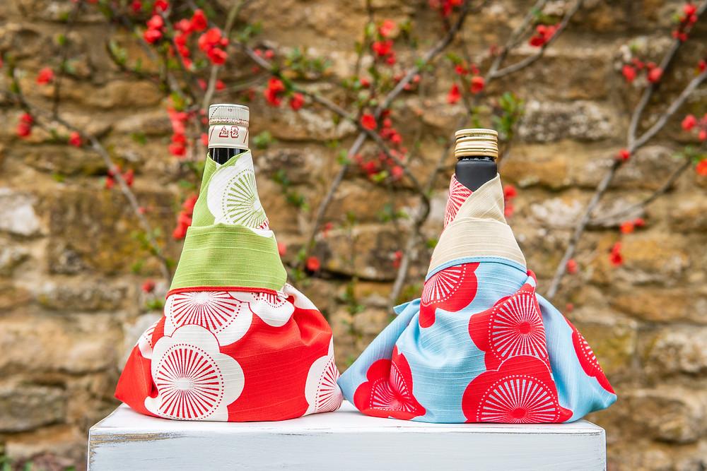 sake, alcohol, Japanese rice wine, furoshiki, fabric wrap,