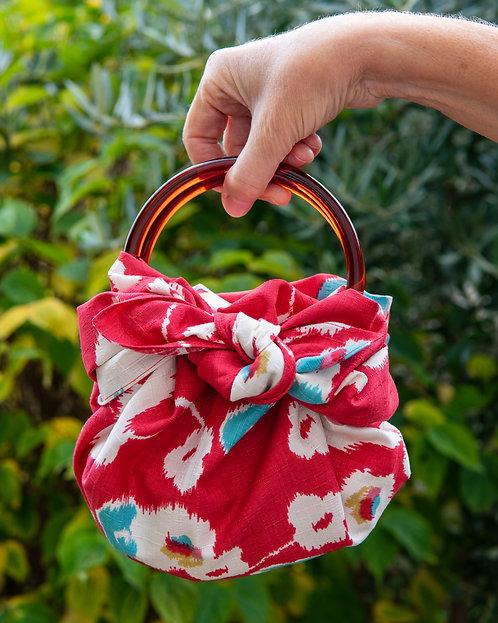Modern Girl Furoshiki Bag Kit with Ring Handles - Japanese Apricot / Red