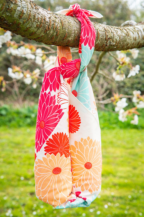 100cm Adeline Klam Organic Cotton Furoshiki | Chrysanthemum Crimson Red