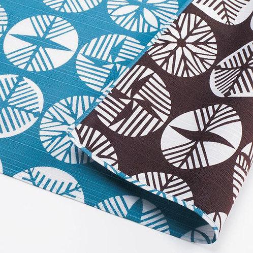 104cm Isa Monyo Reversible Furoshiki | Pine Blue/Brown