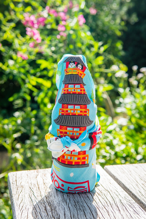furoshiki bottle wrap on table