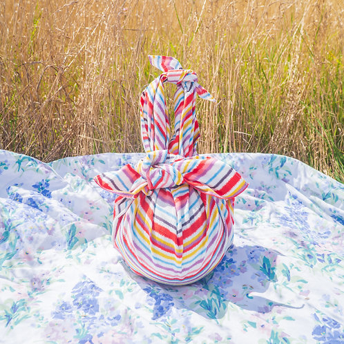 Stripe furoshiki picnic gift wrap