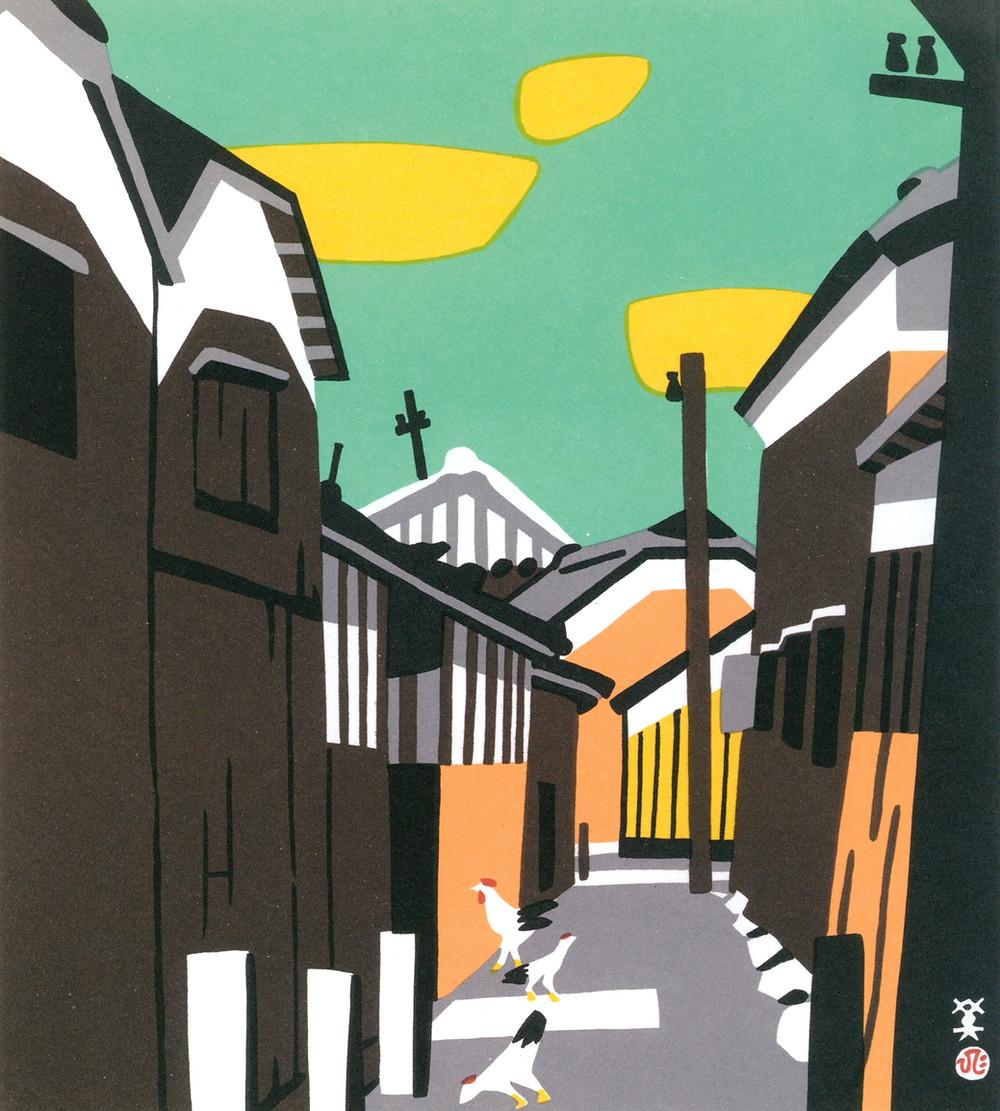 ukiyoe, Japanese art, woodblock print, sake brewery, Zusetsu furoshiki