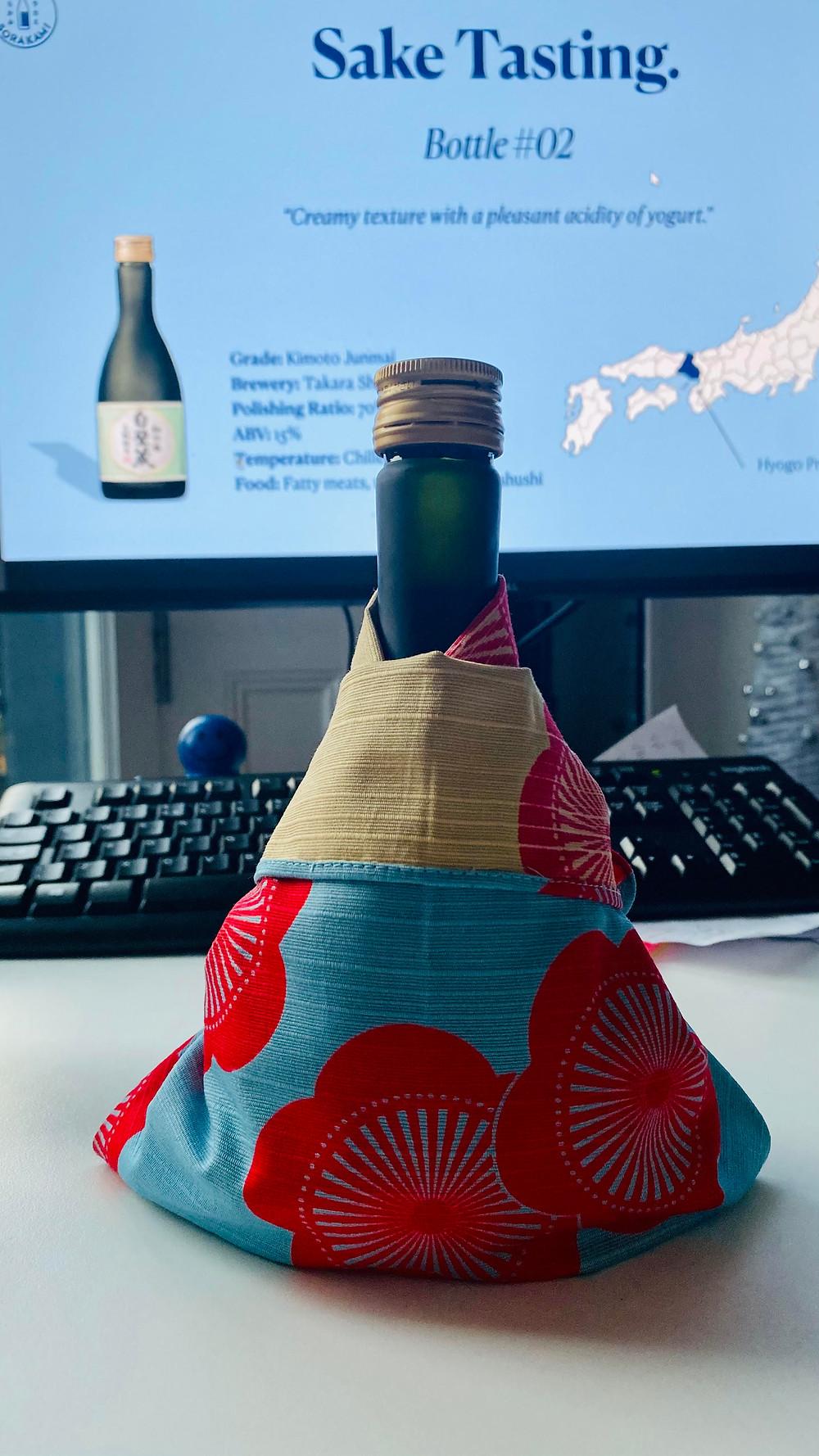 Zusetsu online event furoshiki wrapping workshop and sake