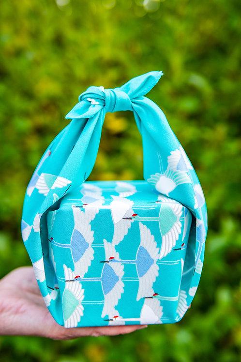 50cm Adeline Klam Organic Cotton Furoshiki | Crane Turquoise