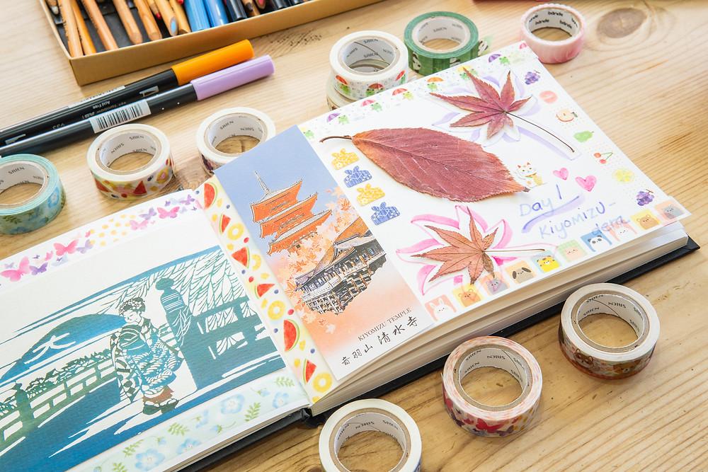 Zusetsu washi tape Kyoto journal origami