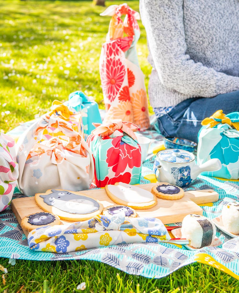 picnic, hanami, Zusetsu Store, Japanese wrapping cloth, furoshiki, Japanese food, Totoro