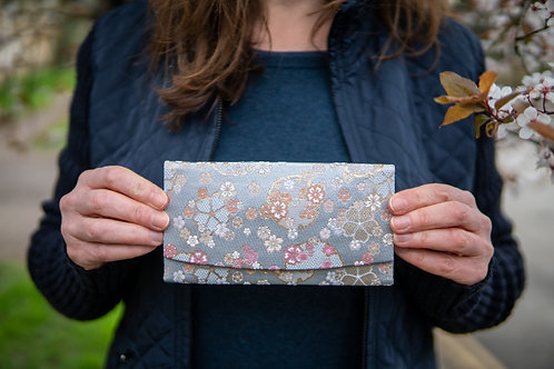 Kyoto Wallet - Blue Brown Lilac Blossom