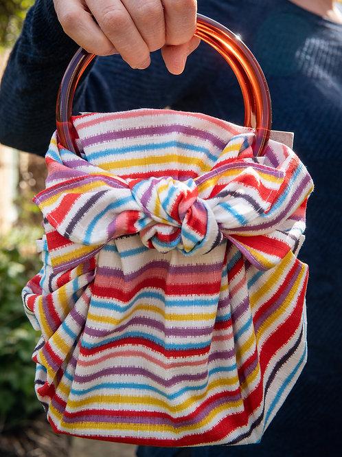 Modern Girl Furoshiki Bag Kit with Ring Handles - Stripe / Multi