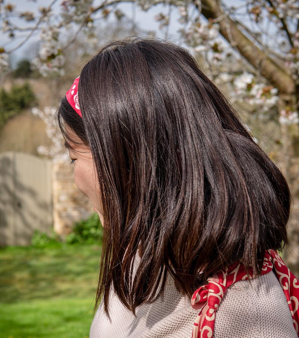 girl with a furoshiki hairband