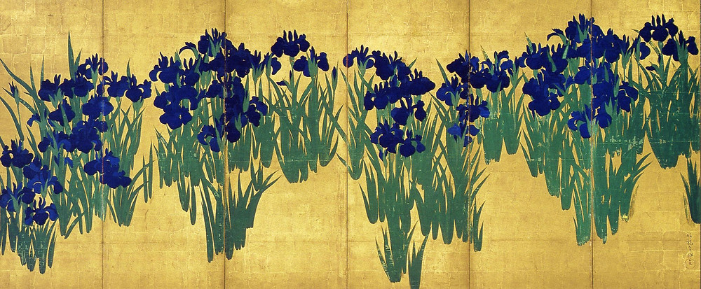 fusuma-e, screen, gold, iris, painting, Japanese art