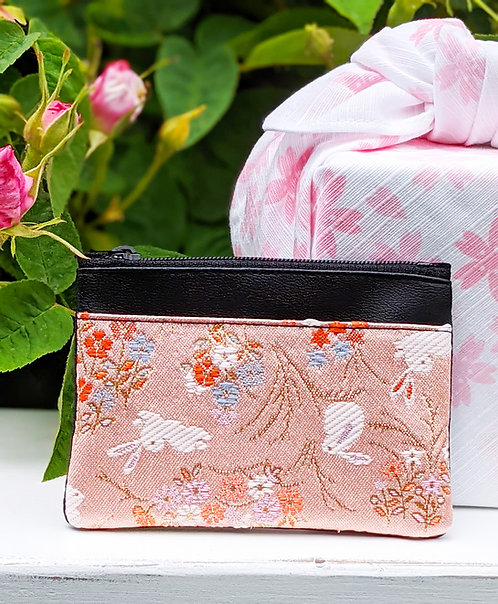 pink bunny card case and furoshiki