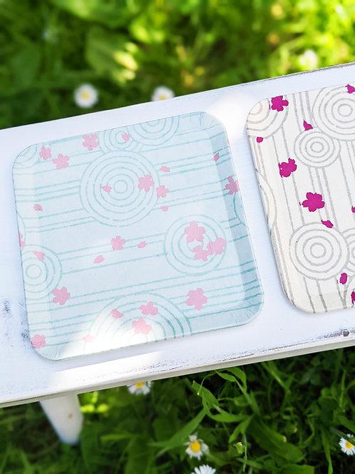 Kyoto Washi Paper Tray - Karesansui Garden Blue
