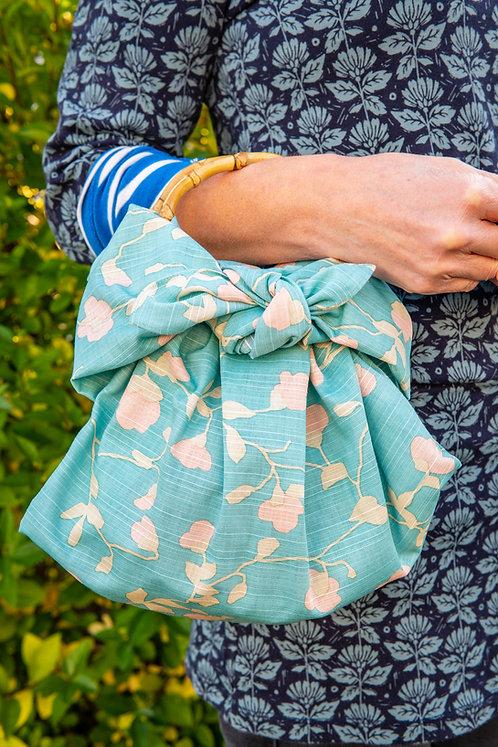 Furoshiki Ring Bag with Bamboo Handles - Emerald Blue