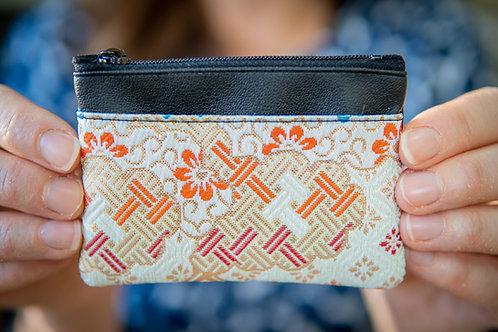 Kyoto Card Case - Gold Orange White Weave