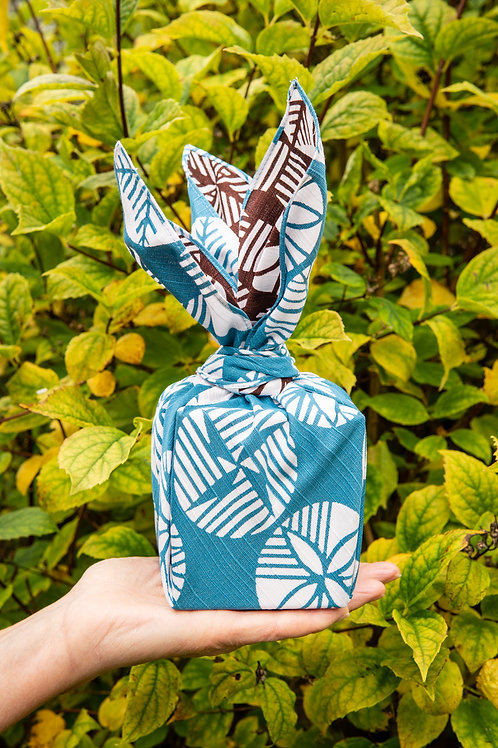 48cm Isa Monyo Reversible Furoshiki | Pine Blue/Brown