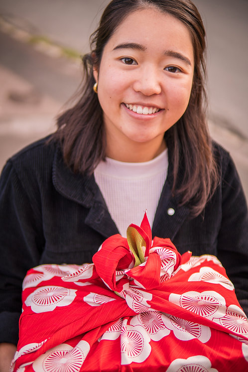 Japanese Apricot furoshiki gift-wrapped present