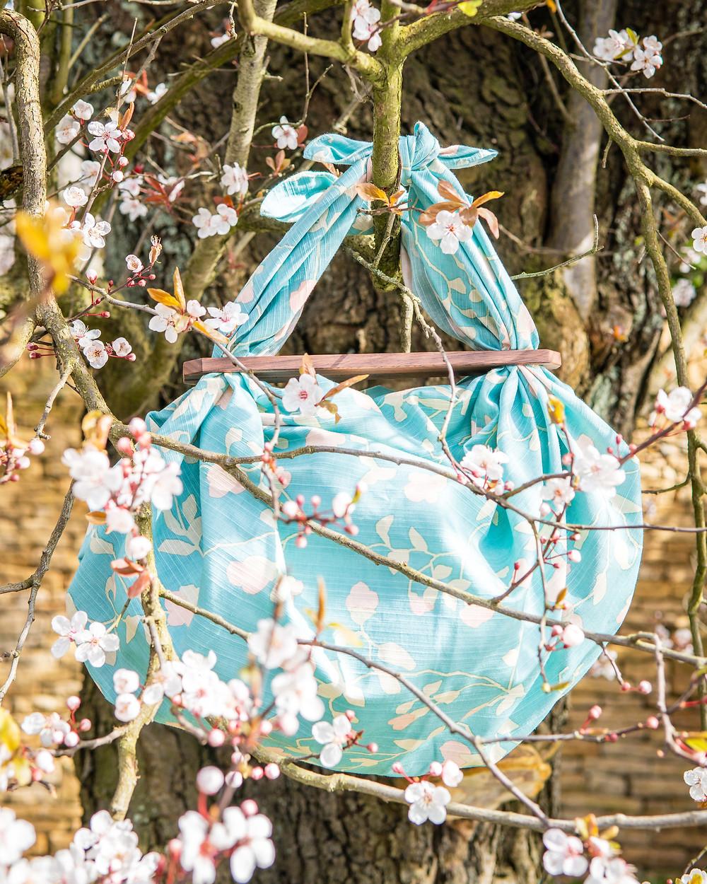 furoshiki patchin bag, hanami, cherry blossom, Zusetsu furoshiki