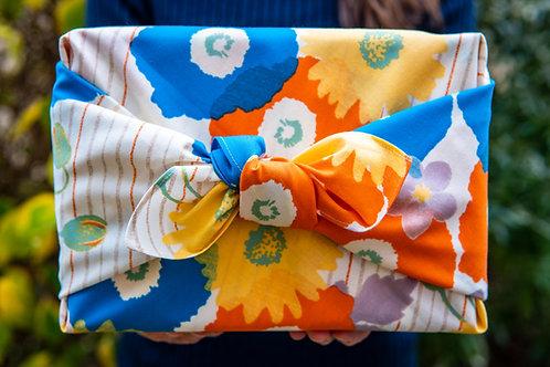 70cm Cohare Furoshiki Meadow Flowers | Vivid Blue and Orange