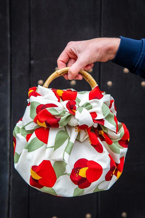 furoshiki ring bag with bamboo handles