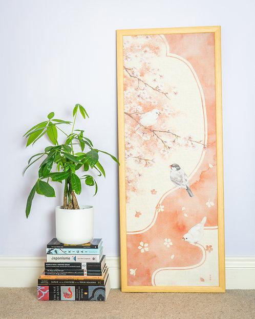 tenugui wall art and book pile