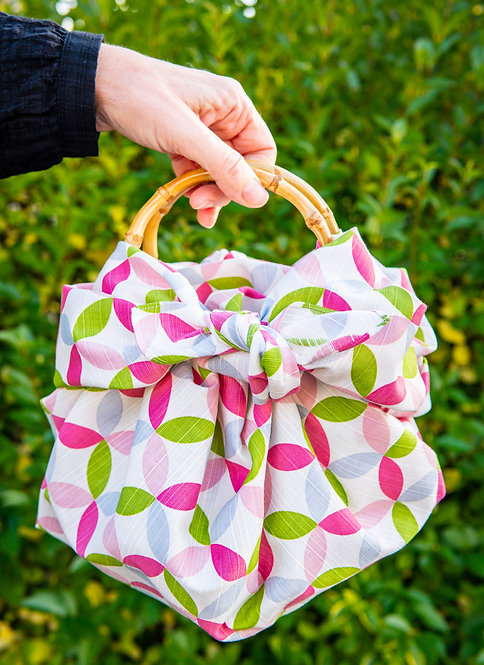 Furoshiki Ring Bag with Bamboo Handles - Happy Cherry