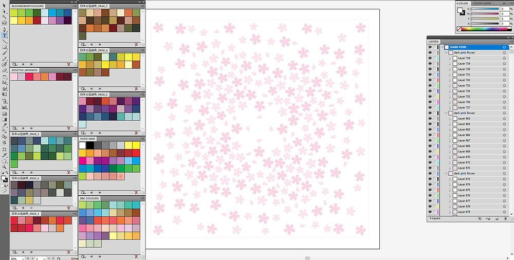 screenshot of Zusetsu furoshiki Snowflower being designed in Adobe Illustrator