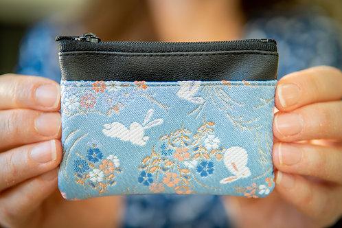 Kyoto Card Case - Pale Blue White Hare