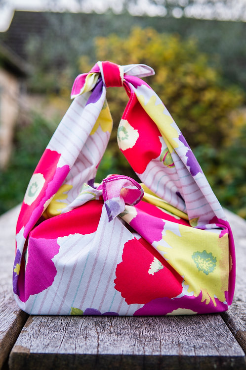 70cm Cohare Furoshiki Meadow Flowers | Bright Pink and Yellow