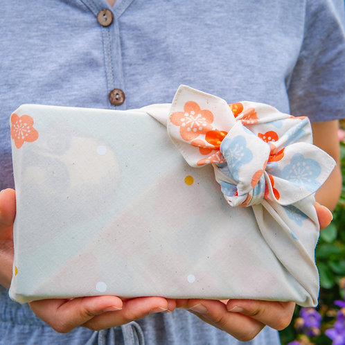 Japanese Apricot furoshiki gift wrapping front view