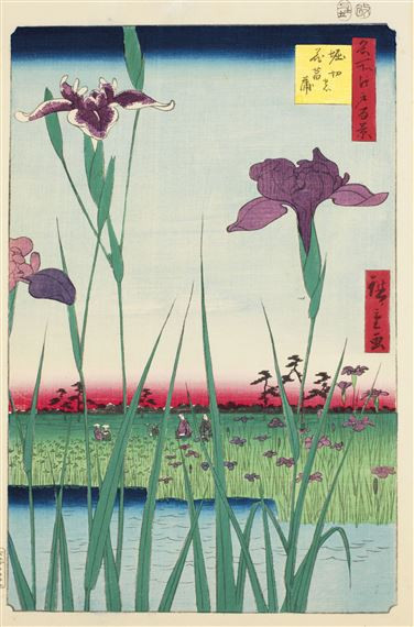 iris, flower, Japanese art, ukiyoe