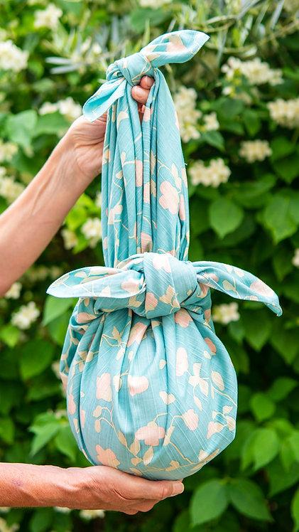 Emerald Blue furoshiki bag in garden