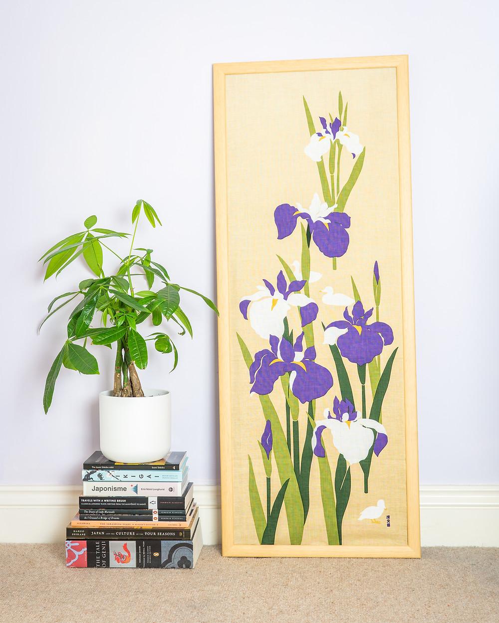 iris, flower, summer, tenugui, wall art, art, Japanese textile, Zusetsu Store