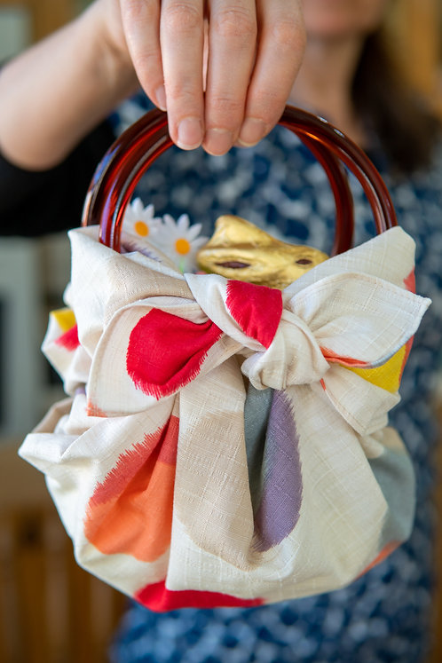 Modern Girl Furoshiki Bag Kit with Ring Handles - Dot  / Beige