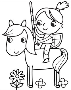 1.Girl knight on horse