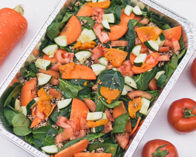 Quinoa salad with baby spinach, roasted pumpkin, carrot, tomatoes, cucumber & vinaigrette