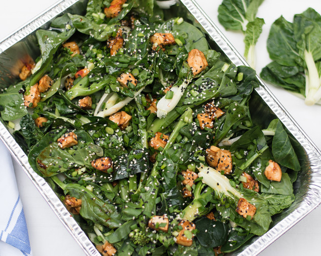 Chinese broccoli, pak choi, sesame & chili-miso dressing (grilled tofu or chicken)