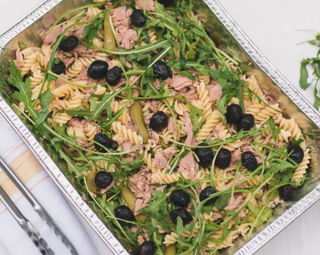 Tuna pasta salad with rocket, olives, gherkins & mayo