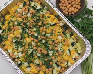Indian masala potato salad with cauliflower, cucumber, chickpeas, coriander, lemon & mayo