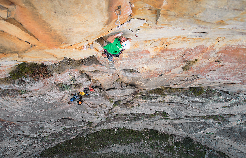 Wesley Black on his send of the crux pitch - Newborn