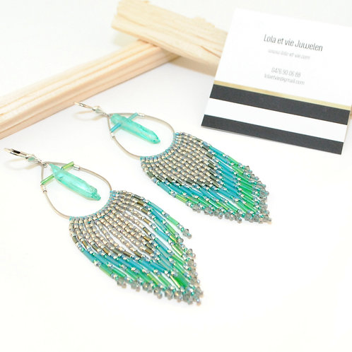 oorbel fringe turquoise