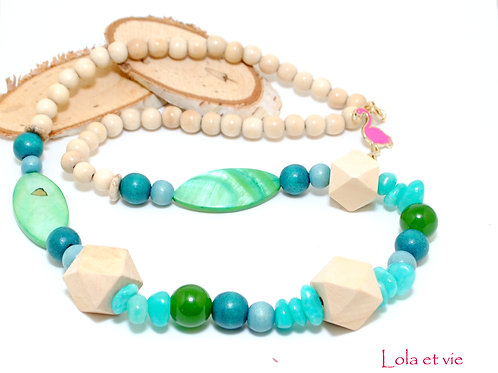 ketting hout turquoise