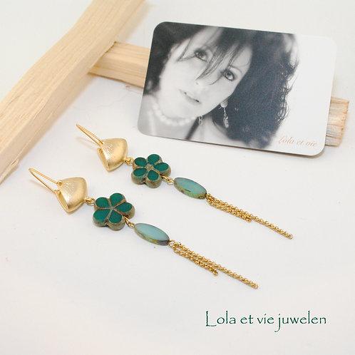 oorbel bloem kristal groen