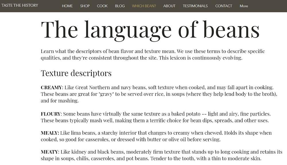 Bean descriptors