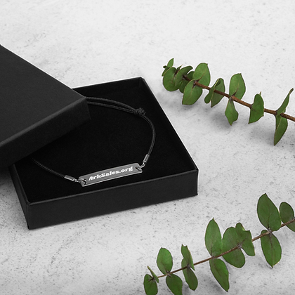 Engraved ArkSales Silver Bar String Bracelet