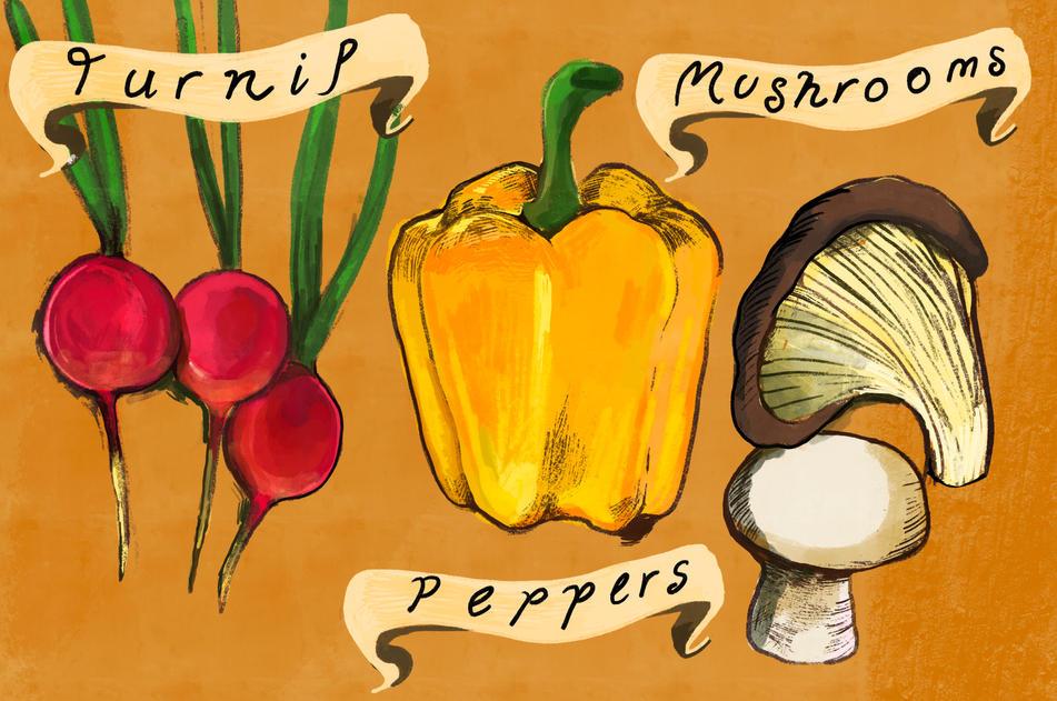 Turnip, Peppers Mushrooms